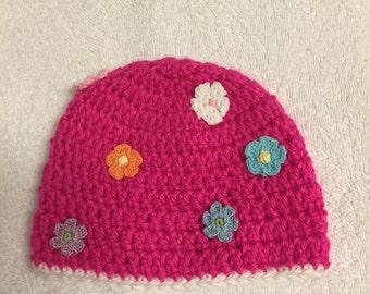 newborn baby girl hat with flower crochet handmade gift idea for new baby shower birthday christmas welcome acrylic yarn