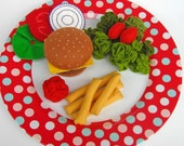 Wool Felt Play Food - Cheeseburger Fries and Salad Special