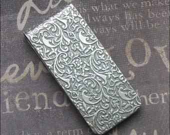 Antiqued Silver Money Clip Mens Accessories Credit Card Holder Embossed Money Clip Vintage Father's Day Groomsmen Husband Christmas Gift