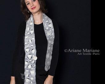 Warm soft Nuno Felt winter Scarf, Women merino wool shawl, circles design, outstanding accessories,  Wearable Art Paris handmade in France