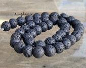 Round Black Lava Rock Gemstone Beads 10mm Full Strand