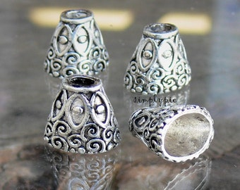 Large Fancy Oval Cones, Antiqued Silver Swirls Pewter Bead Caps 4