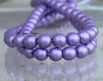 Satin Purple, Czech Glass Beads, 6mm Druk, 25 Round Matte Beads