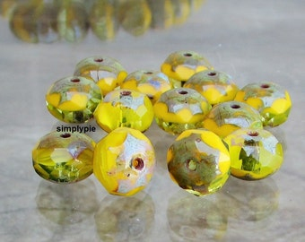 Marbled Yellow Picasso Donut Czech Glass Beads 8x6mm 12 Faceted Rondelle Gemstone-Cut