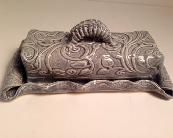 Handmade Ceramic Butter Dish ,covered, soft grey blue, textured.