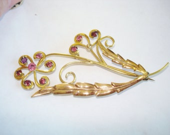 1/20 12K Flower Leaf Rhinestone Vintage Jewelry Brooch
