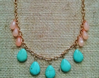 Mint and coral beaded statement necklace. Gold. Turquoise jewelry. Teardrop. Bib necklace. Peach. Turquoise. Mint. Pink. Coral. Chunky.