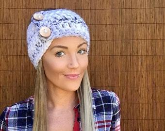 Lamb's Wool Grey White Marble Wrap Headband Hair Accessory Fashion Neckwarmer Scarf w/ Reclaimed Wood Buttons Gray Head Women Girl