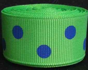 "7/8"" Inch wide Grosgrain Ribbon---3 yards---Polka Dots---Lime Green and Royal Blue"