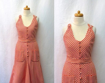 1980s / 90s Vintage Gingham Sundress / Orange & White Checked Shirtwaist Dress