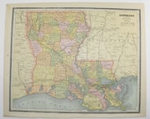 Vintage Map Louisiana Mississippi Map 1887 Antique Art Map, Southern State Map, Gulf Coast, Office Gift for Coworker Wedding Gift for Couple