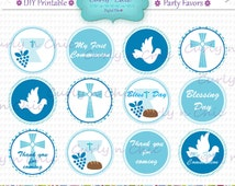 """INSTANT DOWNLOAD -Boy First Communion Party Favor Toppers- Size 2""""  -Printable Party Tag, Cupcake Topper, DIY, You Print, You Cut -"""