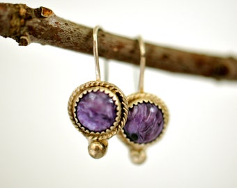 Charoite and Sterling Silver Drop Earrings