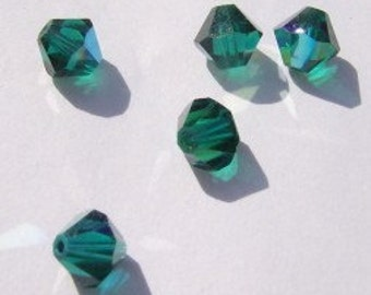 Swarovski Elements Crystal Beads BICONE  crystal beads Emerald AB (green) -- Available in 3mm, 4mm and 6mm