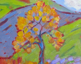 "Shimmering Tree/OLD GLORY, original oil painting on canvas board by Yvonne Wagner. 8 x 10"". Tree. Fall. Autumn. Arbre."