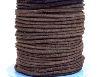 2mm Round Suede Cord - Dark Brown - Choose Your Length