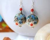 Ocean Earrings, Wave Earrings, Beach Jewelry, Nautical Beach Earrings, Lampwork Glass Earrings,