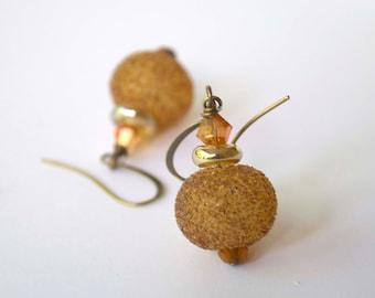 Golden Sparkle Earrings, Hollow Glass Earrings, Light Weight Earrings, Sugared Earrings, Lampwork Earrings, Glass Bead Earrings