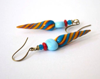 Lampwork Glass Bead Earrings, Aqua Blue Earrings, Glass Bead Earrings, Long Earrings, Striped Earrings, Yellow Earrings