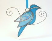 Turquoise Stained Glass Bird Suncatcher / Ornament