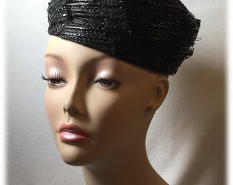 Vintage Bellini Ladies Hat Black Nylon Layered Ribbon Pillbox Velvet Bow