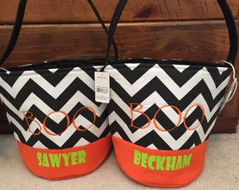 Personalized fabric halloween bucket totes with free shipping