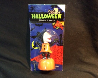 Halloween Vintage Push Puppet Witch - 1970s