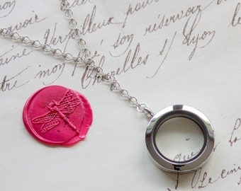 Glass Memory Keepsake Shake Locket Floating Vintage Y Style Necklace - Stainless Steel, Yellow Gold, or Rose Gold Plated - Nickel Free