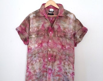 Psychedelic Button Down - Short Sleeve - Large - L - Upcycled - Watercolor Vibes