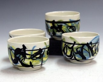 holiday presents  Office gifts hand made porcelain ceramic tea bowls  gifts tea bowls cider bowls  gifts party gifts wiskey shooters