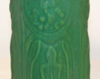 Owens Pottery Matte Green Floral Vase