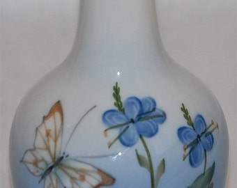Royal Copenhagen Bud Vase Decorated with Flowers and Butterfly  (Artist Signed)