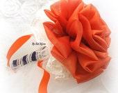 Toss Bouquet, Burn, Orange, Ivory, Purple, Plum, Wedding, Bridesmaids, Fall Wedding, Maid of Honor, Fabric, Lace, Tulle, Vintage Style