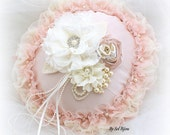 Ring Bearer Pillow, Wedding, Round, Bridal, Ivory, Cream, Blush, Lace, Pearls, Chiffon, Satin, Ruffles, Crystals, Gatsby, Vintage, Elegant
