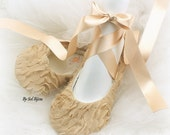 Gold Flats, Champagne, Tan, Bridal, Ballet Flats, Shoes, Ballerina, Slippers, Flower Girl, Chiffon, Elegant, Vintage Style, Elegant Wedding