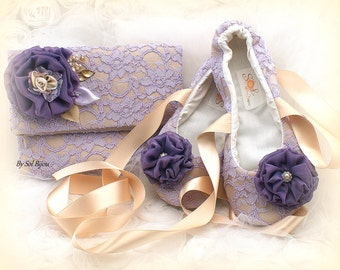 Clutch,Ballet Flats,Champagne, Lilac,Gold,Purple,Elegant Wedding,Vintage Style,Lace Clutch,Lace Flats,Handbag, Shoes, Lace, Crystals, Pearls