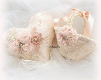 Wedding Ring Pillow,Flower Girl Basket,Ivory,Blush, Rose, Heart Pillow,Vintage Wedding,Gatsby,Lace Girl Basket,Lace Ring Pillow,Pearl Handle
