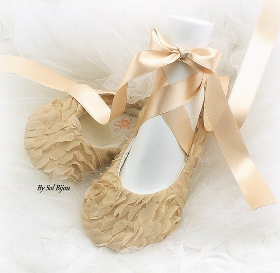 Gold Flats Champagne Tan Bridal Ballet Flats Shoes