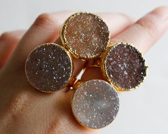 ON SALE Caramel Brown Druzy Ring - Geode Rings - Choose Your Stone, Sweet like Sugar, Gifts for Her