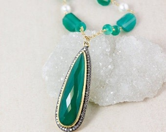25% OFF Green Onyx Teardrop Beaded Necklace – Layering Necklace