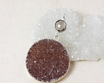 50% OFF Smokey Quartz and Maroon Druzy Necklace – Choose Your Druzy – 925 Sterling Silver