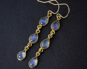 Rainbow Moonstone Dangle Earrings – 14kt Gold Fill