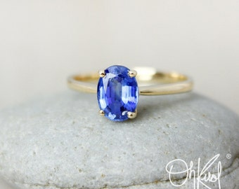 Blue Kyanite Ring – Oval  – 14K White or Yellow Gold