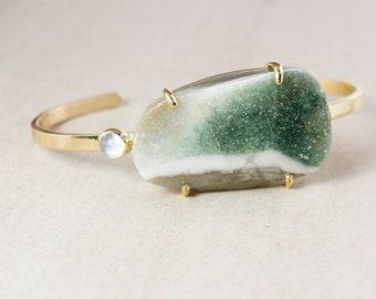 Gold Green Agate Druzy Cuff – Rainbow Moonstone - One of a Kind