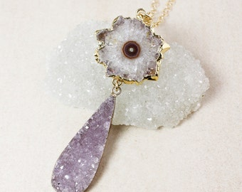 50% OFF SALE - Teardrop Druzy and Amethyst Stalactite Necklace – Choose Your Druzy – Layering Necklace