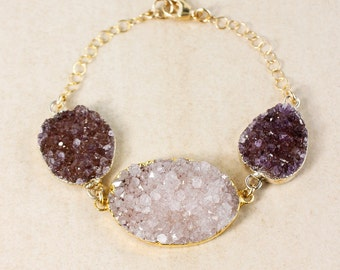 50% OFF SALE - Lilac Purple Druzy & Violet Druzy Bracelet - Gold or Silver - Oval Druzy