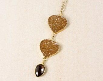 50% OFF SALE - Gold Honey Brown Druzy Necklace - Smokey Quartz - 3-Tier Druzy Necklace