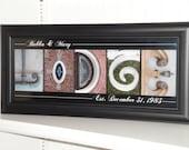 Letter Art- Alphabet Letter Photography- Personalized Alphabet Photo Letter Art 8x20- Color- FRAMED Name- Wedding
