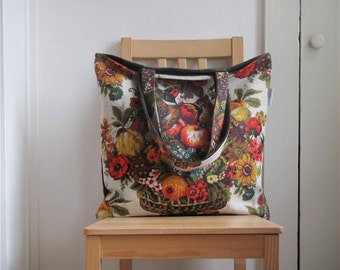 Pheasant Harvest Shopper - Mid Century Fruit and Bird Tapestry - Vintage Limited Edition - Under 60 - Teacher / Mom / Co Worker / Her Gift