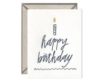 Happy Birthday Cake letterpress card
